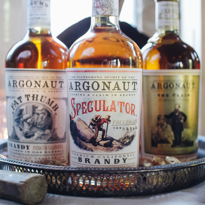 E. & J. Gallo's Argonaut brandy line features three offerings (pictured): Speculator ($38 a 750-ml.), Saloon Strength ($38, on-premise only), and Fat Thumb ($50).