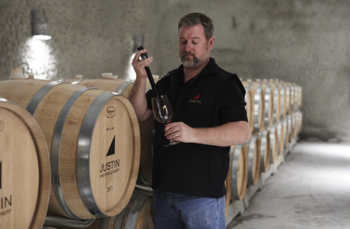 Bordeaux varietals are top of mind at Justin (winemaker Scott Shirley pictured).