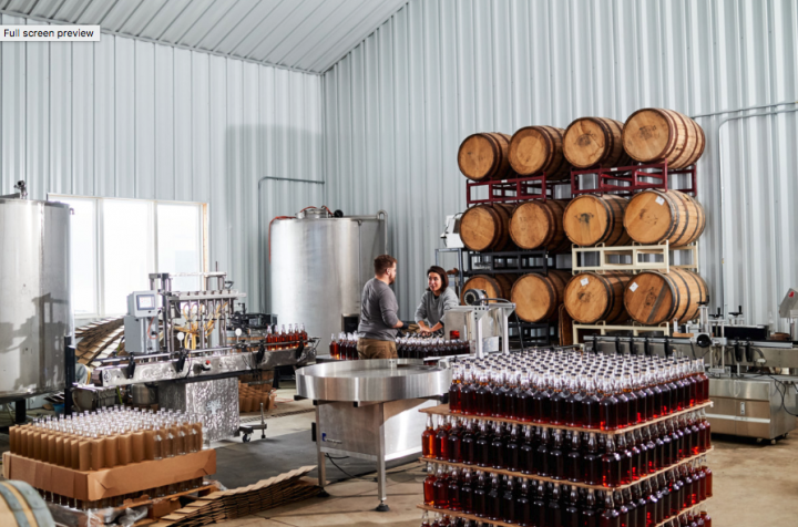 While BMD's overall volume remains limited at 5,000 cases, its gin and whiskey expressions are growing considerably (bottling room pictured). In coming years, Weld is keen to release more aged whiskies to the public.