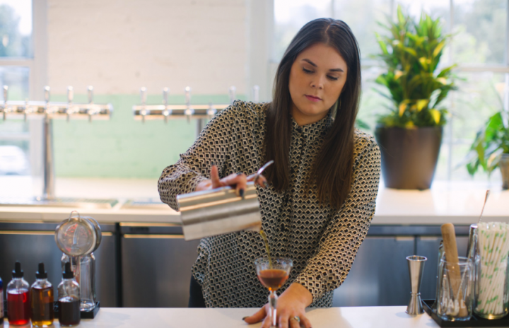 At Billy Sunday in Chicago, beverage direc- tor Stephanie Andrews crafts cocktails with a focus on vintage spirits like aged amaro.