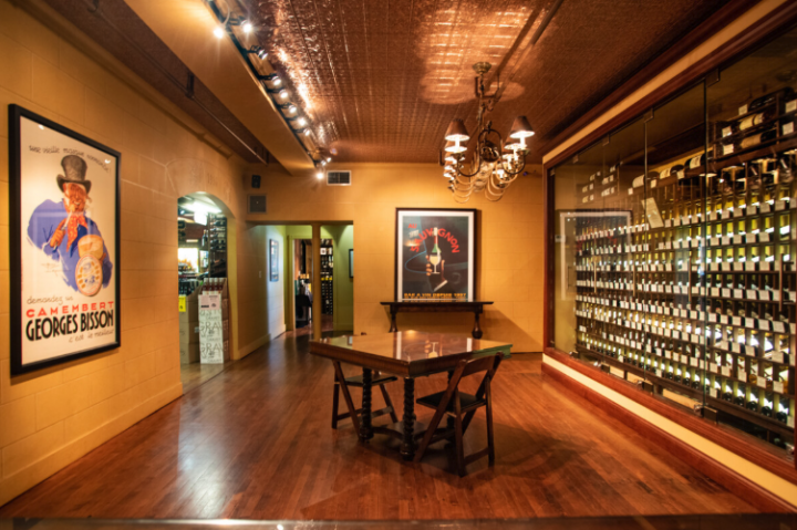While Schaefer's bread-and-butter wine sales have shifted in the last decade, the store still sees success with high-end rare labels found in the back of the store (back wall pictured).