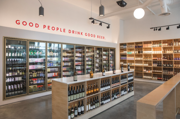 Culver City, California-based Hi-Lo Liquor's new Long Beach location (interior pictured) stocks an extensive selection of wine, spirits, and beer, with a focus on carefully curated craft and local products.