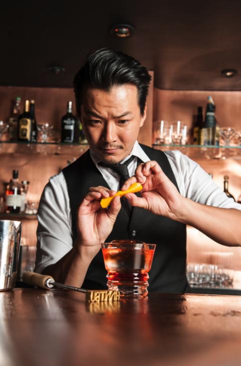 As creatve director at Atlanta bar Himitsu—connected to high-end sushi restaurant Umi—Shingo Gokan focuses on omotenashi, the art of hospitality.