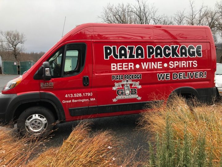 Massachusetts-based Plaza Package Store (delivery van above) works with beverage alcohol delivery app Bottlecapps on its website and app. In addition to delivery, consumers can schedule in-store pickup via the app.