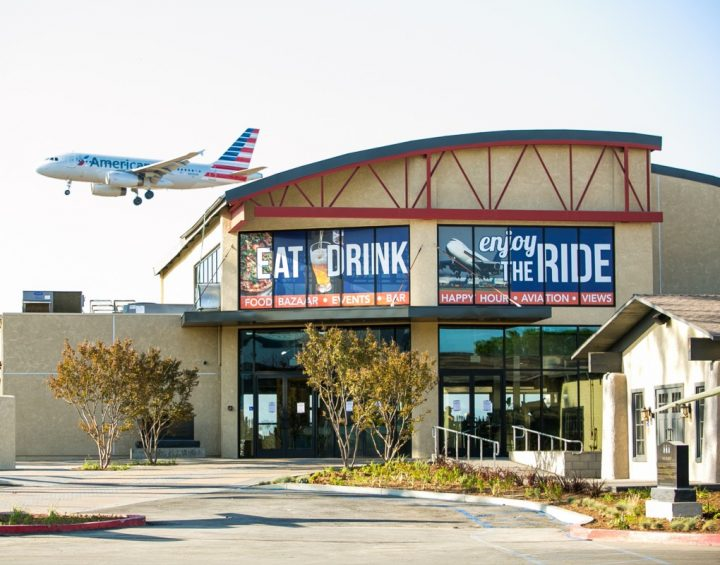Given that David Tallichet was a World War II B-17 bomber pilot, a few of his restaurants— like Proud Bird (exterior pictured), located at Los Angeles International Airport—have an aviation theme.