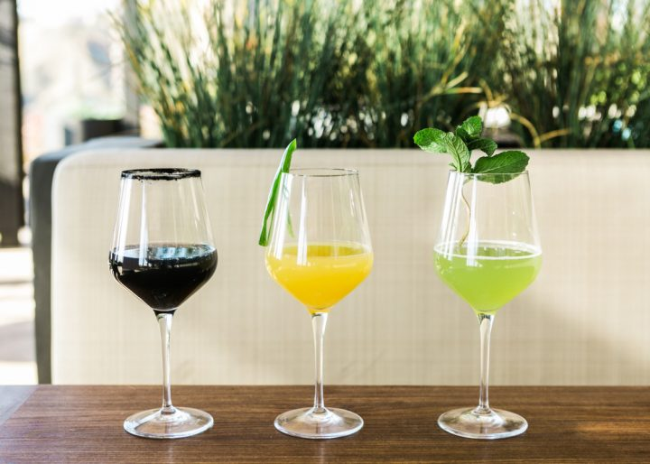 At Castaway in Los Angeles, drink offerings include mimosa variations like lavender-activated charcoal-lemonade, pineapple-jalapeño, and fresh cucumber and mint (pictured).