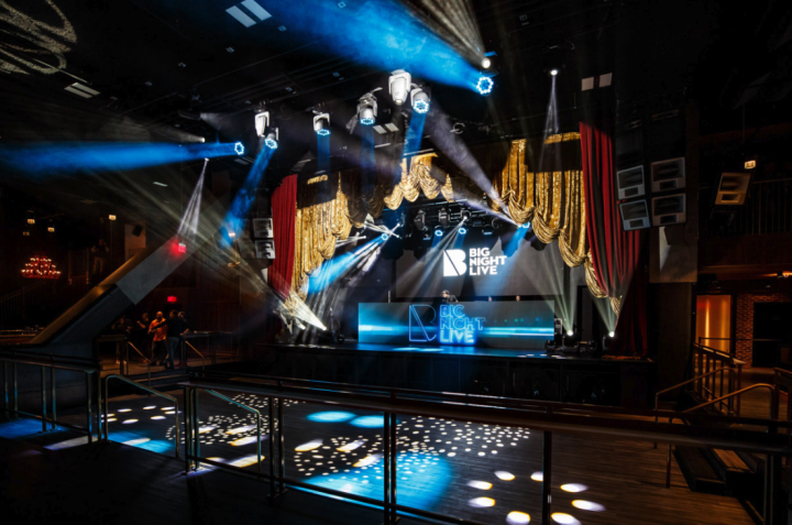 Launched in 2019, Big Night Live showcases the company's current direction, which includes venues that have multiple differ- ent spaces. Big Night Live boasts a music hall (pictured) as well as a VIP club, restaurant, private event space, and five bars.