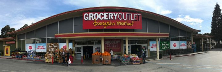 Grocery Outlet (Oakland store exterior pictured) was founded in 1946 and became a publicly traded company last June.