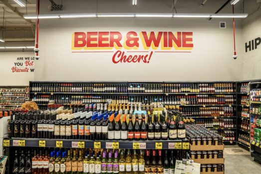 The wine category presents great opportunities for Grocery Outlet (interior pictured) and is driving national growth for the chain.