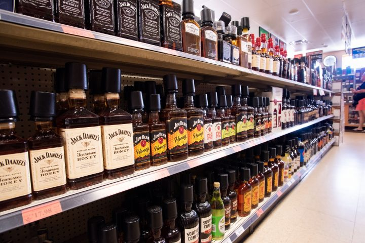 Spirits account for 70% of sales at Nick's Liquors, with the retailer offering 1,200 SKUs. Vodka and Bourbon (shelves pictured) perform particularly well at the chain, with customers favoring brands like Tito's, Maker's Mark, and Jim Beam.