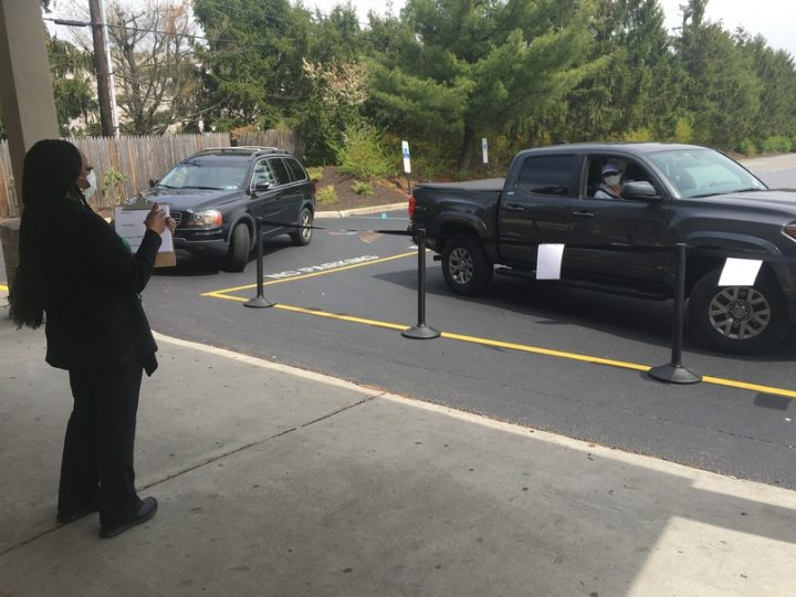 The PLCB decided to reopen stores on a limited basis on April 1, allowing some online sales and offering curbside pickup of orders (Harrisburg pickup pictured).
