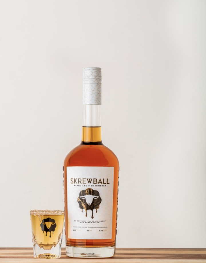 Skrewball (pictured) is a peanut butter-flavored whiskey that launched in San Diego in 2018 and gained national distribution through Infinium Spirits last year.