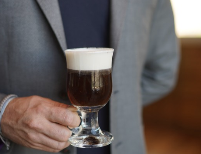 At 4 Saints, the Pick Me Up in Jalisco (pictured) mixes Milagro Reposado Tequila, St. George Nola coffee liqueur, house-made cinnamon orgeat syrup, and La Colombe cold-brew coffee.