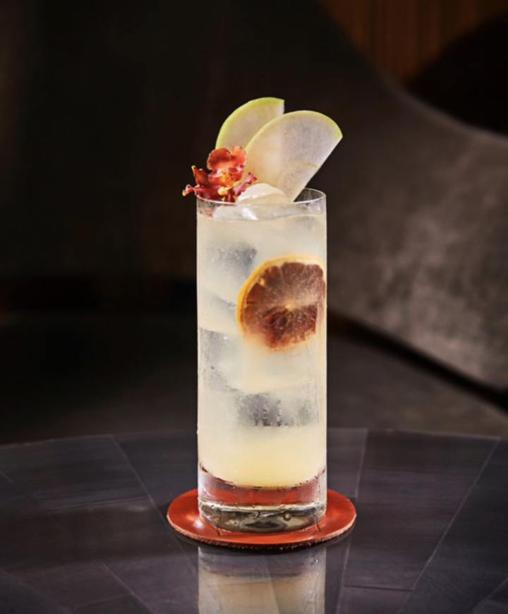 MO Bar + Lounge's bar manager Lora Nefiodchina's Flying Lotus (pictured) blends Russian Standard vodka, house-made jasmine green tea syrup, green apple purée, and lemon juice.