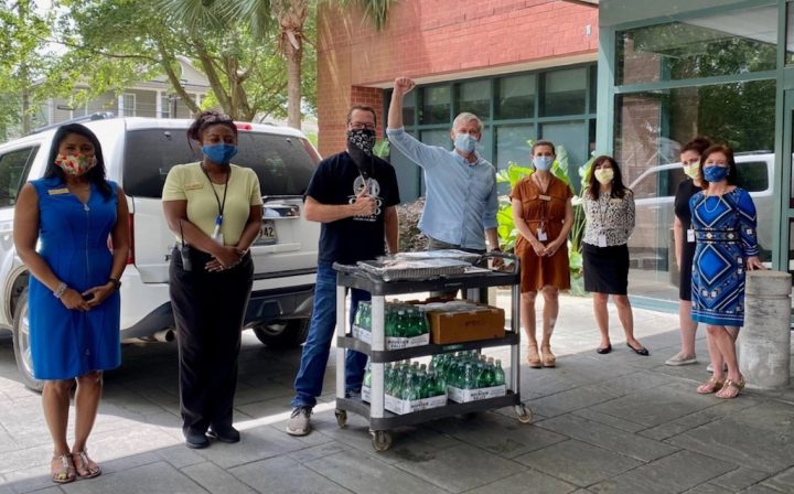 While all of Emeril Lagasse's venues in Las Vegas, New Orleans, Florida, and Pennsylvania closed during the Covid-19 lockdowns, the chef's New Orleans locations have been providing meals to doctors, nurses, and first responders throughout the city (pictured).