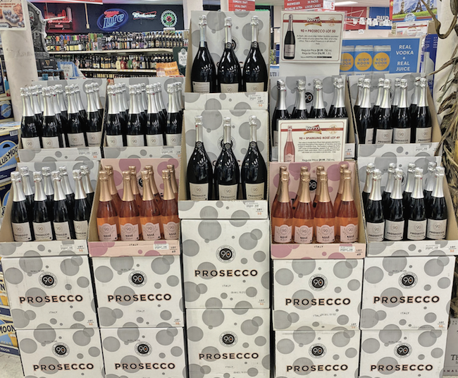 The sparkling wine category (display at Kappy's Fine Wine & Spirits pictured) saw 30% growth in volume compared to last year.