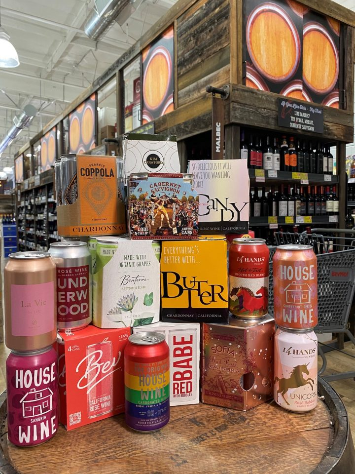BevMo (Napa, California display pictured), which has nearly 170 stores in California, Washington, and Arizona, has seen an uptick in canned wine sales across its stores.