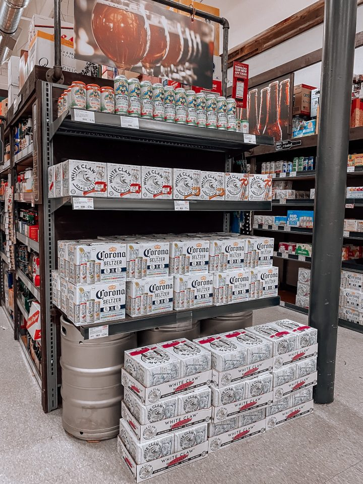At BevMo, which has nearly 170 stores in California, Washington, and Arizona, consumers are gravitating toward hard seltzers (display pictured) because they are low in sugar, carbs, and calories.