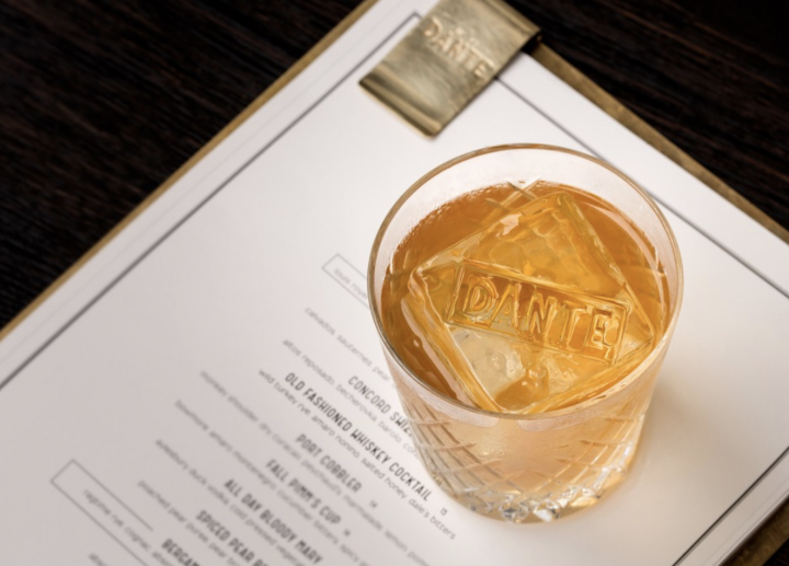 The Old Fashioned (pictured) from New York City's Dante features Wild Turkey 101 rye, Nonino amaro, honey syrup, Dale DeGroff's Pimento Aromatic bitters, and a dash of saline.