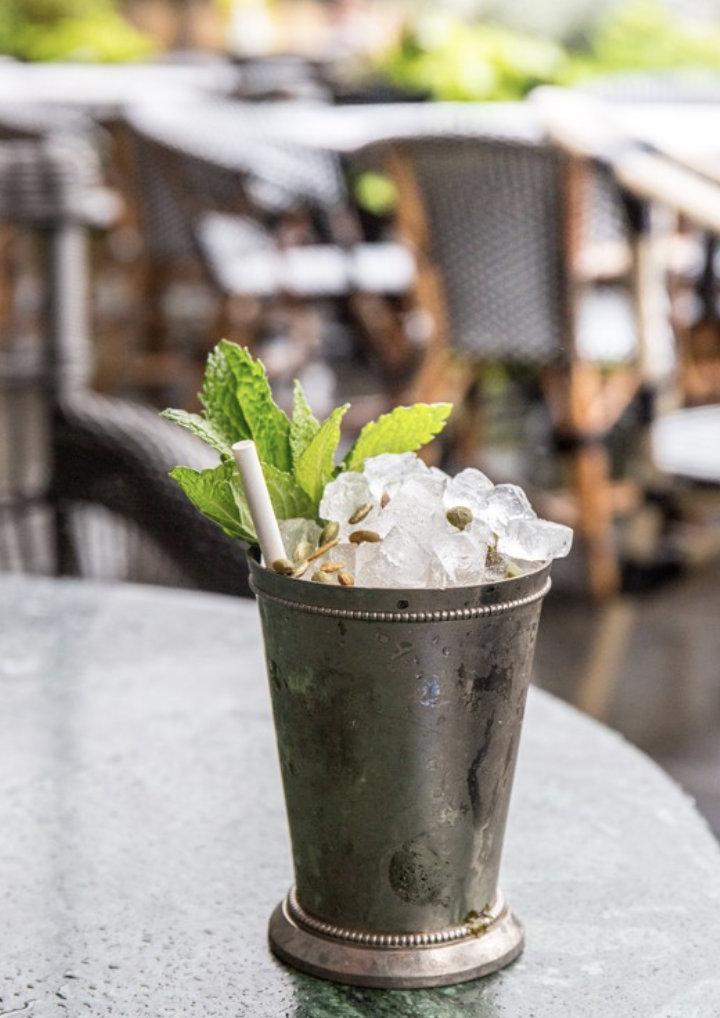 The Zucca Julep (pictured) from Cecconi's Dumbo in Brooklyn, New York utilizes St. Agrestis amaro.