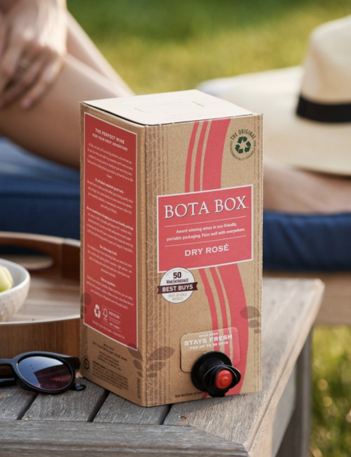 Delicato Brands' Bota Box rosé (pictured) has skyrocketed to 300,000 cases since it launched in 2017.