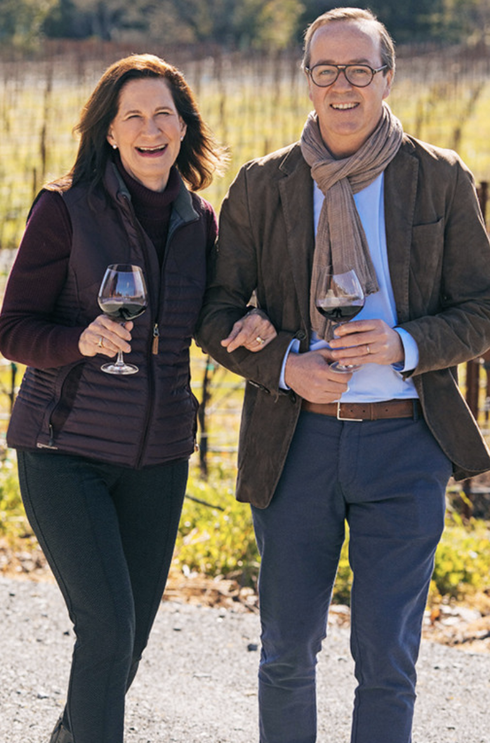 California Pinot Noir thrives because of such upcale wineries as Merry Edwards (retired winemaker Merry Edwards with Champagne Louis Roederer CEO Frédéric Rouzaud pictured).