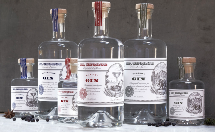 Craft distiller St. George (gin lineup pictured) makes four gins: St. George Terroir, Botanivore, Dry Rye, and Dry Rye Reposado.