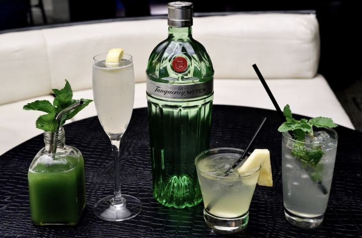 With a couple of exceptions, the leading gin brands have been flat or declining. Diageo-owned Tanqueray (bottle and cocktails pictured), which accounts for 15% of the category, remained flat in 2019.