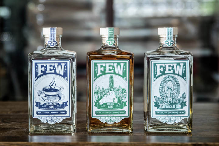 F.E.W. Spirits (gin lineup pictured) in Illinois has three gins in the U.S. market: Breakfast gin, Barrel gin, and American gin. According to Hletko, Breakfast gin is the distillery's most successful expression because it's light and approachable.