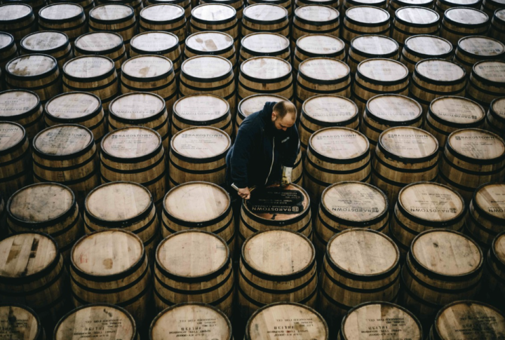 In Bardstown, Kentucky, Bardstown Bourbon Co. (barrel stenciling pictured) has jumped into the innovation fray with its Series lineup, which features extra-aged Bourbons as well as collaborations.