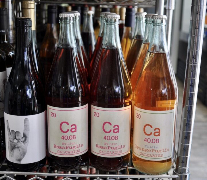 Natural wines (Calcarius wine bottles at Mendez Fuel pictured) are being sold everywhere in the U.S., from high-end retailers to mainstream convenience stores.