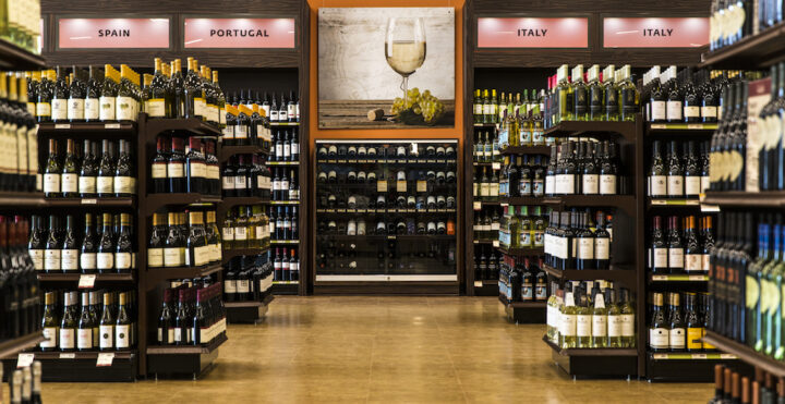 Wine (imported wine shelves pictured) makes up 45% of sales at all Fine Wine & Good Spirits stores for the PLCB.