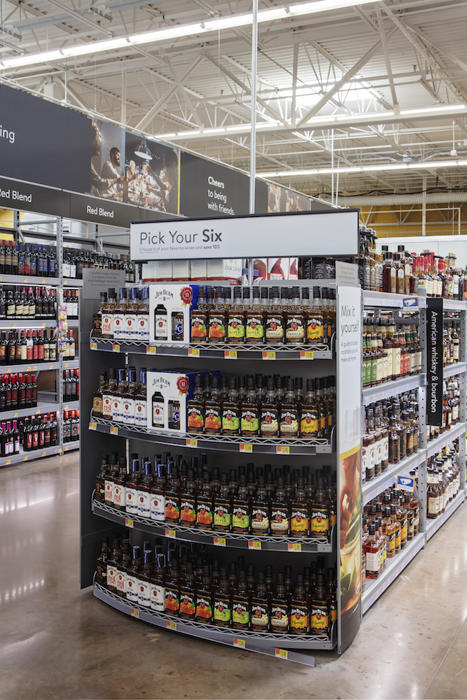 With more space for beverage alcohol after renovations, Walmart is able to focus on curating selections at individual stores that account for regional preferences, such as a heightened focus on whiskey (pictured).