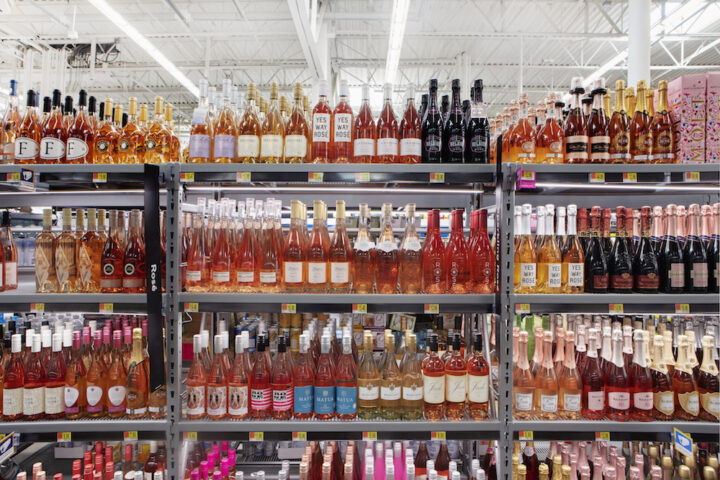 Walmart customers have been gravitating toward broader trends such as rosé (shelves pictured).