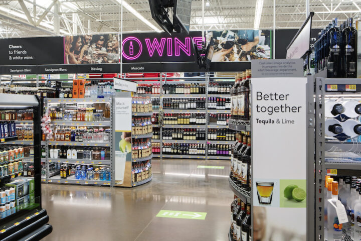 The Walmart retail chain (Branson, Missouri beverage alcohol store-within-a-store pictured)—the founder of the big-box movement—has recently expanded its wine, spirits, and beer selections to include premium and craft offerings, with a focus on discount prices.