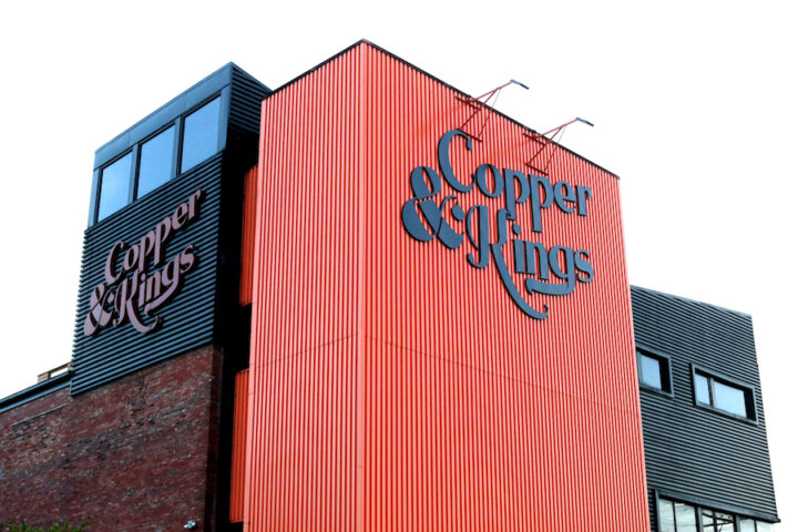 Copper & Kings distillery (exterior pictured) launched in 2014 and currently distributes its products across 43 U.S. markets.