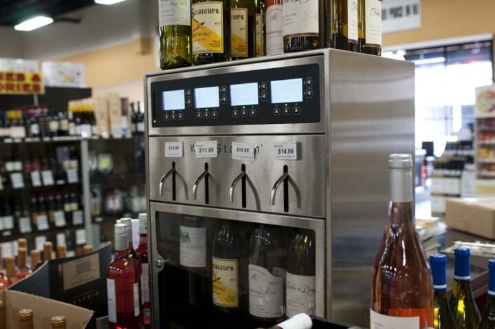 With 6,000 SKUs, wine (dispenser pictured) accounts for 38% of sales at Super Buy-Rite. Bathena is working to build a more upscale wine roster, anchored by strong sellers in California Cabernet Sauvignon and Chardonnay.