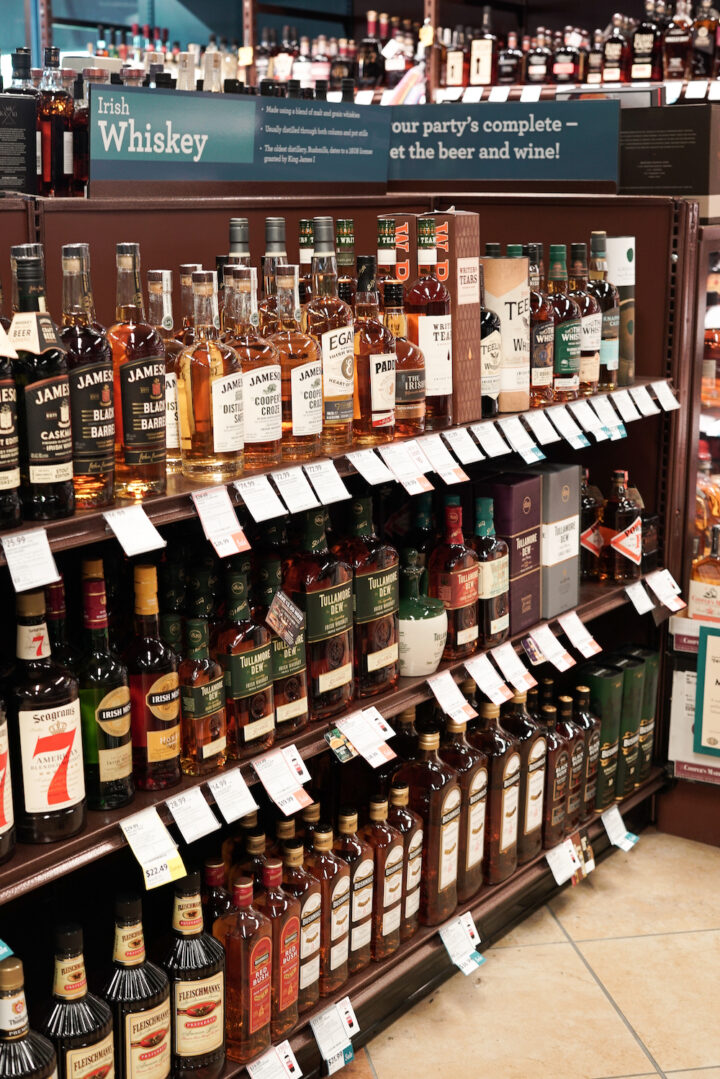 Though no other brand's sales compare to Jameson at Florida-based ABC Fine Wine & Spirits (shelves pictured), the category does see solid growth with brands like Redbreast and Proper No. Twelve.