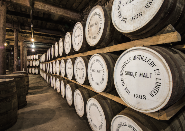 Cuervo-owned Bushmills (barrels pictured) is embracing innovation as well as its historic past. Growing to nearly 200,000 cases from 170,000 in 2015, the brand is promoting new blends such as the Bourbon barrel-aged Red Bush to bring in new consumers.