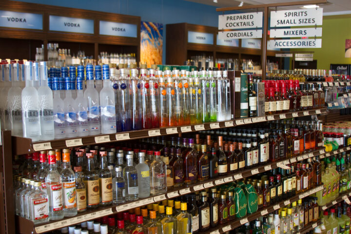 With 5,800 spirits SKUs, Pennsylvania's overall spirits sales (vodka shelves pictured) increased to $1.42 billion in 2019, making up 55% of all sales at Fine Wine & Good spirits stores and on-premise locations.