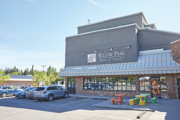 Canada's Willow Park Wine & Spirits encompasses three retail units that staff about 120 employees. The flagship location in Calgary (exterior pictured) is a sprawling 50,000-square-foot space with multiple levels.