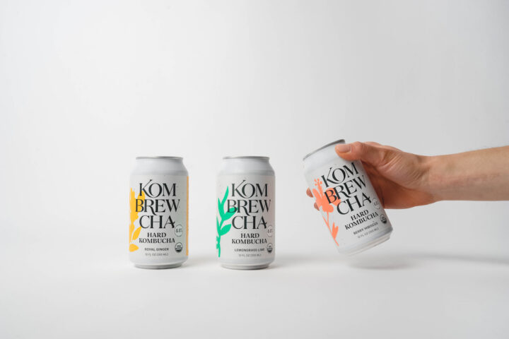 Kombrewcha (lineup pictured) offers Royal Ginger, Berry Hibiscus, and Lemongrass Lime flavors.