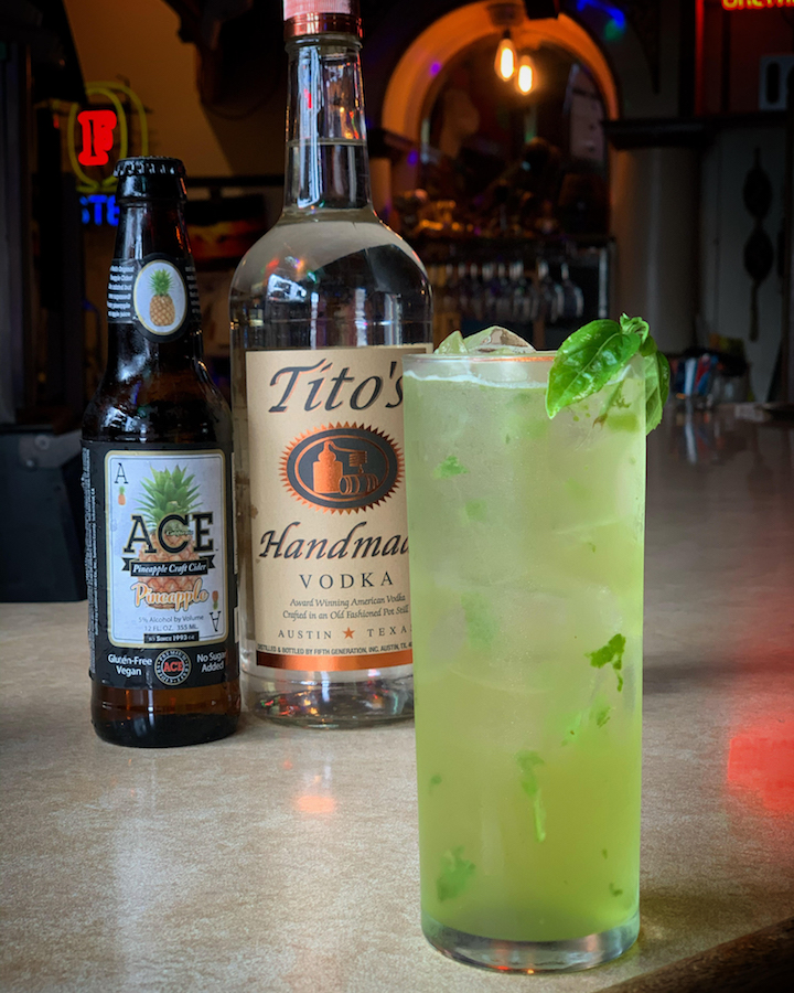 Cider is becoming increasingly popular in cocktails—like the Pineapple Basil Fizz (pictured) from Triangle Tavern in Astoria, Oregon—because it adds a depth of flavor without requiring mixologists to use extra sugar or syrup.