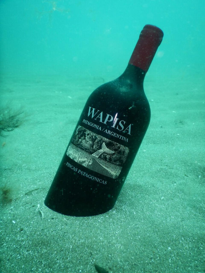 In Patagonia, winemaker Patricia Ortiz is experimenting with underwater aging through her Wapisa label (bottle pictured).