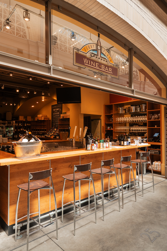 Opened in 2003, Ferry Plaza Wine Merchant & Wine Bar sees a mix of consumers, from local regulars to tourists who head straight to the upscale wine bar (pictured), which at press time moved outdoors due to Covid-19 safety regulations.