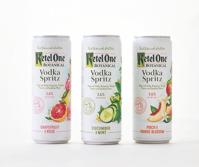 Netherlands-based Ketel One vodka has seen success in recent years thanks to doubling down on innovation with offerings like the health- and wellness-minded Ketel One Botanical line and its subsequent RTD offshoot, Vodka Spritz (pictured).