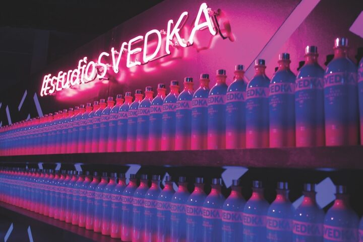 A focus on flavors is key for Svedka, which has seen success in recent years with its numerous extensions. Its Blue Raspberry (bottle display pictured) offering remains a top-selling flavored vodka.