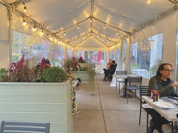 In Chicago, 4 Star Restaurant group is using tents (Perch restaurant pictured) and outdoor heaters to keep its outdoor dining season going as colder weather sets in.
