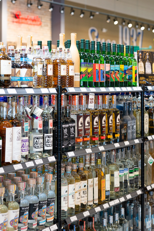 In Texas, Twin Liquors (mezcal shelves opposite page) carries 12 mezcal SKUs on average at its stores, with Pernod Ricard's Del Maguey making the most noise in the category.