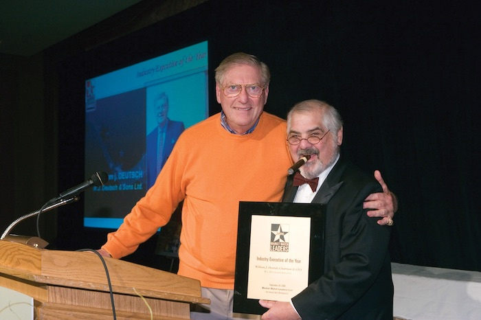 Widely recognized in the trade, Bill Deutsch received the Market Watch Leaders Industry Executive of the Year award in 2006 (pictured with Marvin R. Shanken).